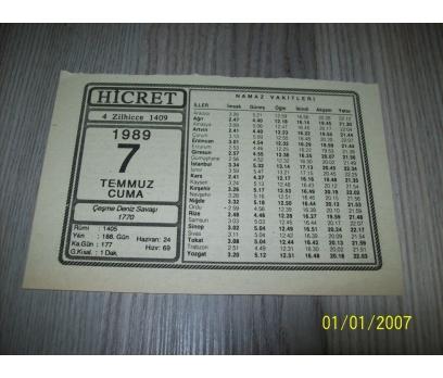 7 TEMMUZ 1989 CUMA Takvim Yaprağı