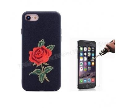 iPhone 8 Gül Desenli Dikişli Silikon Kılıf Siyah + Cam Ekran Koruyucu