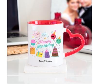 Kişiye Özel Happy Birthday Tasarımlı Kalpli Kupa Bardak - tk3428