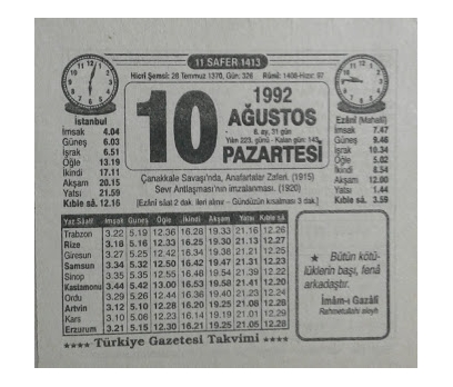10 AĞUSTOS 1992 PAZARTESİ