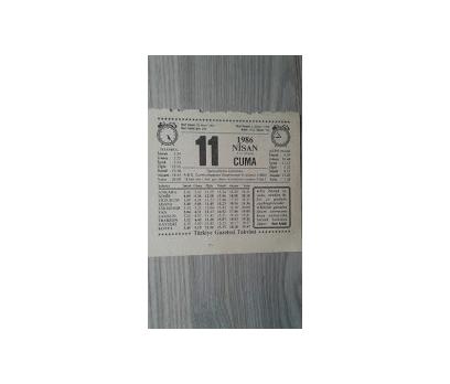 11 NİSAN 1986 CUMA
