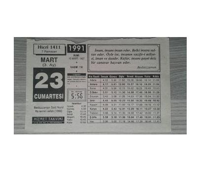 23 MART 1991 CUMARTESİ