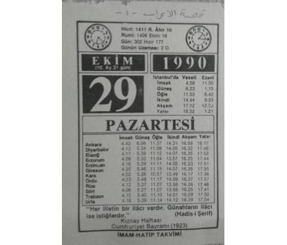 29 EKİM 1990 PAZARTESİ