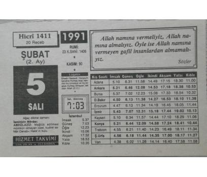 5 ŞUBAT 1991 SALI