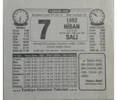 7 NİSAN 1992 SALI