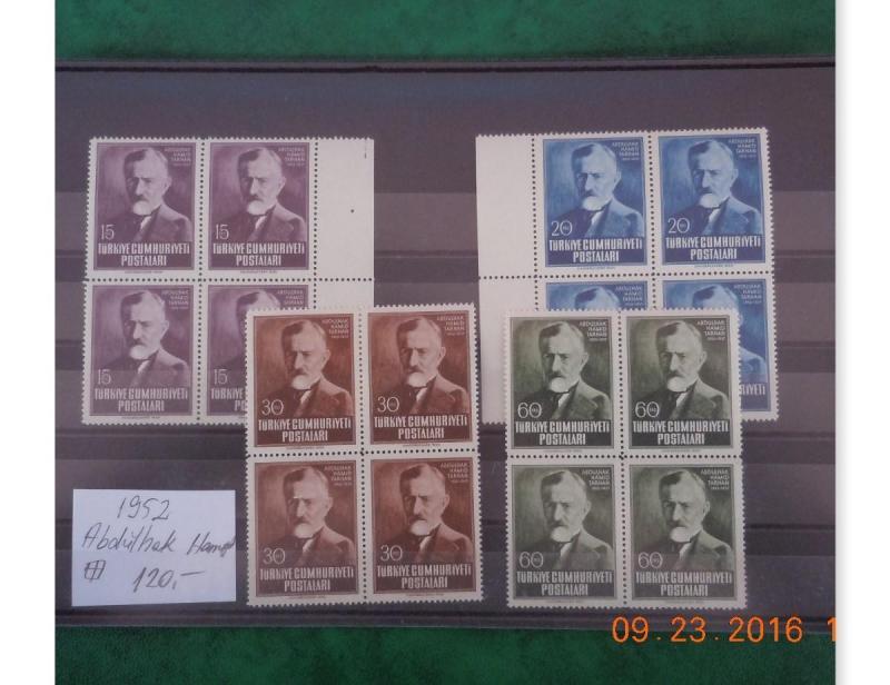 1952 ABDÜLHAK HAMİT 100. DOĞ. YIL TAM SERİ 4.LÜ BL 1