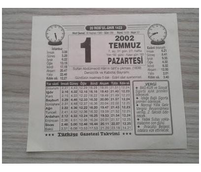 1 Temmuz 2002 Pazartesi Takvim Yaprağı