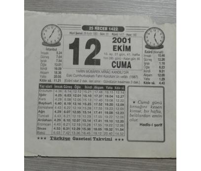 12 EKİM 2001 CUMA TAKVİM YAPRAĞI