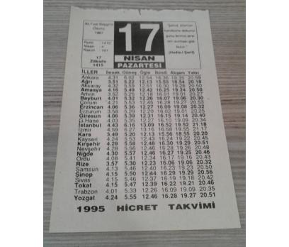 17 NİSAN 1995 PAZARTESİ TAKVİM YAPRAĞI
