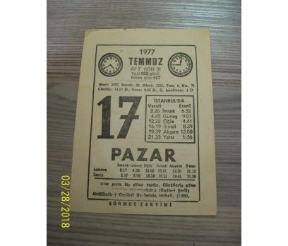 17 TEMMUZ 1977 PAZAR TAKVİM YAPRAĞI