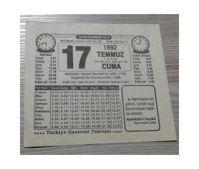 17 TEMMUZ 1992 CUMA TAKVİM YAPRAĞI