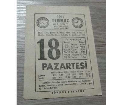 18 TEMMUZ 1977 PAZARTESİ TAKVİM YAPRAĞI