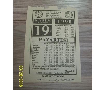 19 KASIM 1990 PAZARTESİ TAKVİM YAPRAĞI