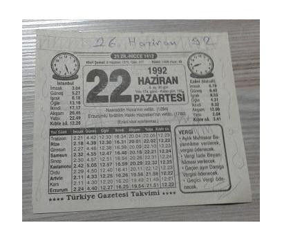22 HAZİRAN 1992 PAZARTESİ TAKVİM YAPRAĞI