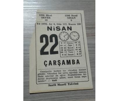 22 NİSAN 1970 ÇARŞAMBA TAKVİM YAPRAĞI