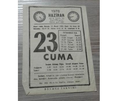 23 HAZİRAN 1978 CUMA TAKVİM YAPRAĞI