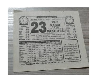 23 KASIM 1992 PAZARTESİ TAKVİM YAPRAĞI
