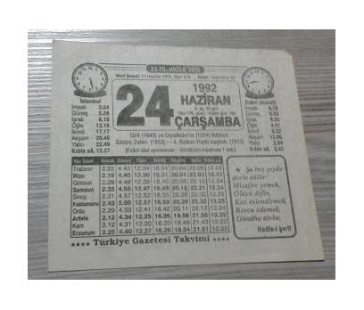 24 HAZİRAN 1992 ÇARŞAMBA TAKVİM YAPRAĞI