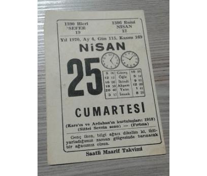 25 NİSAN 1970 CUMARTESİ TAKVİM YAPRAĞI