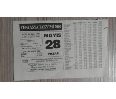 28 MAYIS 2000 PAZAR TAKVİM YAPRAĞI