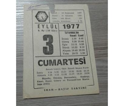 3 EYLÜL 1977 CUMARTESİ TAKVİM YAPRAĞI