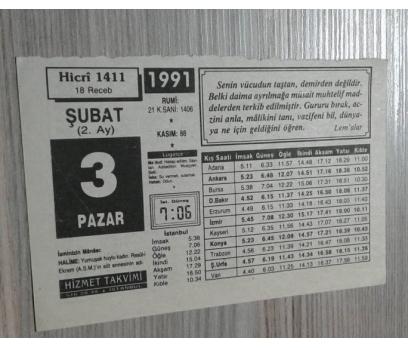 3 ŞUBAT 1991 PAZAR TAKVİM YAPRAĞI 1