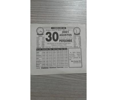30 AĞUSTOS 2001 PERŞEMBE TAKVİM YAPRAĞI