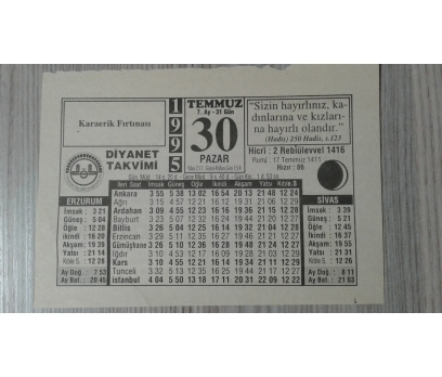 30 TEMMUZ 1995 PAZAR TAKVİM YAPRAĞI