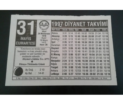 31 Mayıs 1997 Cumartesi Takvim Yaprağı