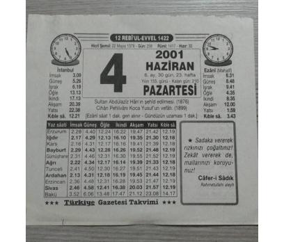 4 HAZİRAN 2001 PAZARTESİ TAKVİM YAPRAĞI