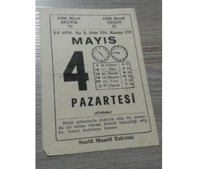 4 MAYIS 1970 PAZARTESİ TAKVİM YAPRAĞI