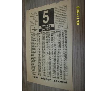 5 ŞUBAT 1995 PAZAR TAKVİM YAPRAĞI