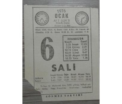 6 OCAK 1976 SALI TAKVİM YAPRAĞI
