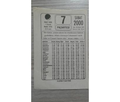 7 ŞUBAT 2000 PAZARTESİ TAKVİM YAPRAĞI