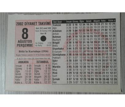 8 AĞUSTOS 2002 PERŞEMBE TAKVİM YAPRAĞI