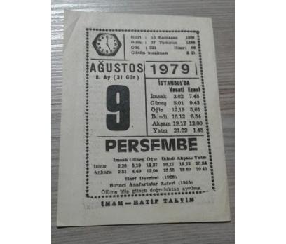 9 AĞUSTOS 1979 PERŞEMBE TAKVİM YAPRAĞI