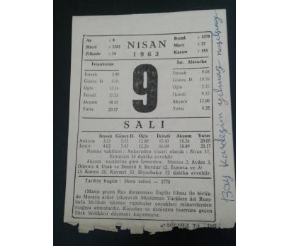 9 Nisan 1963 Salı Takvim Yaprağı