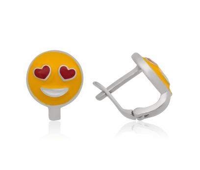 Gümüş Kalp Gözlü Emoji Çocuk Küpesi