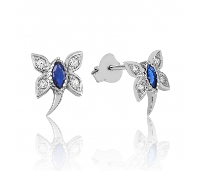 Gümüş Mavi Yusufcuk Bayan Küpe
