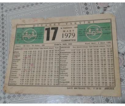 17 Mart 1979 Cumartesi Takvim Yaprağı