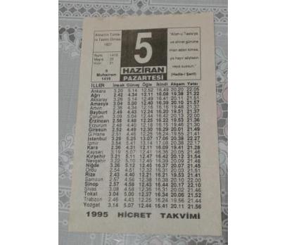 5 Haziran 1995 Pazartesi Takvim Yaprağı