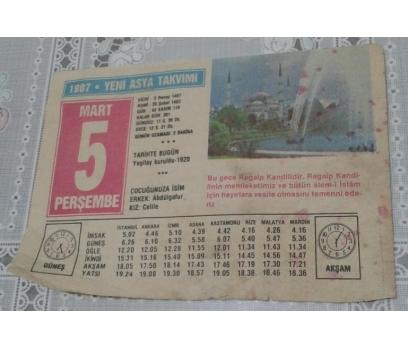 5 Mart 1987 Perşembe Takvim Yaprağı