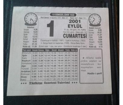 1 EYLÜL 2001 CUMARTESİ TAKVİM YAPRAĞI