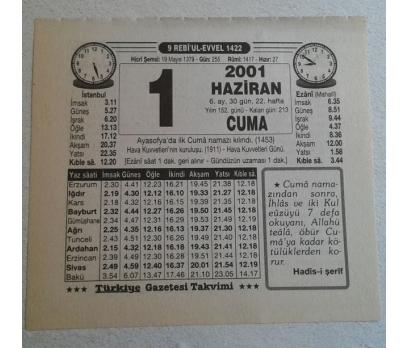 1 HAZİRAN 2001 CUMA TAKVİM YAPRAĞI