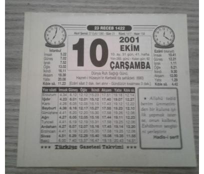 10 EKİM 2001 ÇARŞAMBA TAKVİM YAPRAĞI