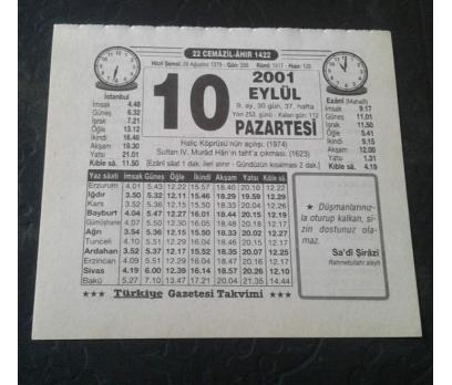 10 EYLÜL 2001 PAZARTESİ TAKVİM YAPRAĞI