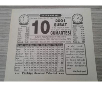 10 ŞUBAT 2001 CUMARTESİ TAKVİM YAPRAĞI