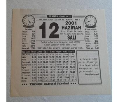 12 HAZİRAN 2001 SALI TAKVİM YAPRAĞI
