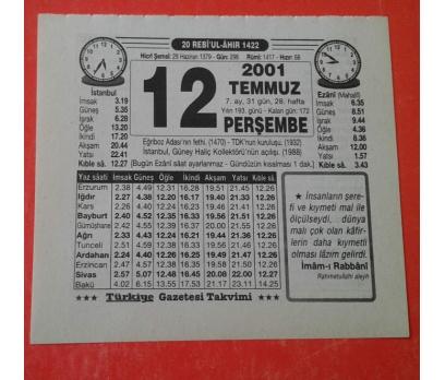 12 TEMMUZ 2001 PERŞEMBE TAKVİM YAPRAĞI