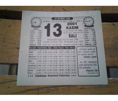 13 KASIM 2001 SALI TAKVİM YAPRAĞI